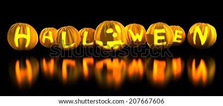Halloween word made of pumpkins. Holiday 3d illustration