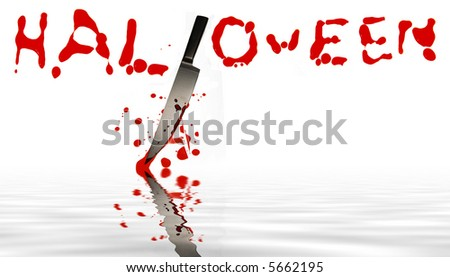 halloween written blood with blood spattered knife