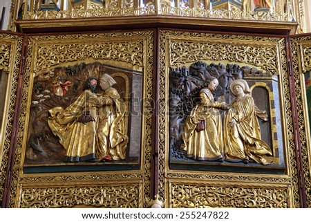 HALLSTATT, AUSTRIA - DECEMBER 13: Meeting at the Golden Gate, Visoitation of the Virgin Mary, Maria am Berg church on December 13, 2014 in Hallstatt, Austria. - stock photo