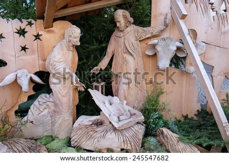 HALLSTATT, AUSTRIA - DECEMBER 13: Nativity scene, creche or crib, is a depiction of the birth of Jesus on December 13, 2014 in Hallstatt, Austria. - stock photo