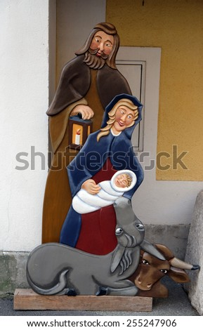 HALLSTATT, AUSTRIA - DECEMBER 13: Nativity scene, creche or crib, is a depiction of the birth of Jesus on December 13, 2014 in Hallstatt, Austria. - stock photo