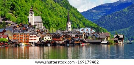 Hallstatt - beautiful alpine village,Austria - stock photo