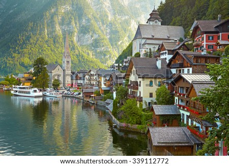 Hallstatt mountain village. Alps, Austria - stock photo
