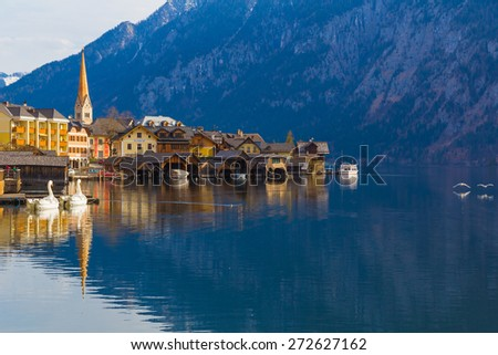 Hallstatt town with traditional wooden houses and swans, Austria, Europe - stock photo