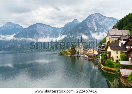 Hallstatt village in Alps at cloudy day, Austria - stock photo