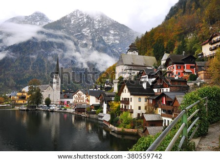 Hallstatt, village in Austria, Salzkammergut region, in late autumn