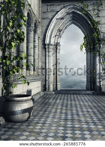 Hallway in a fantasy castle with a flower pot and ivy - stock photo