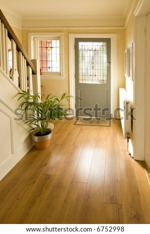 hallway in 1920's house interior of house - stock photo