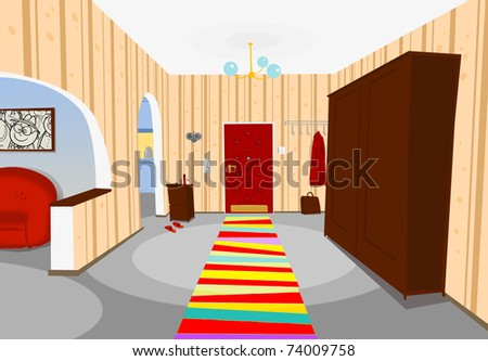 hallway in the apartment of the writer - stock photo