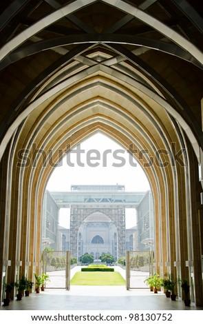 Hallway of a mosque in putrajaya, Malaysia - stock photo