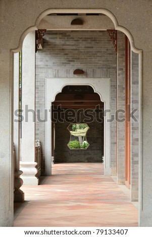 Hallway of a traditional Chinese home / house - stock photo