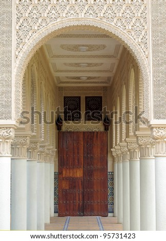 Hallway of Moroccan architecture building at Putrajaya, Malaysia - stock photo