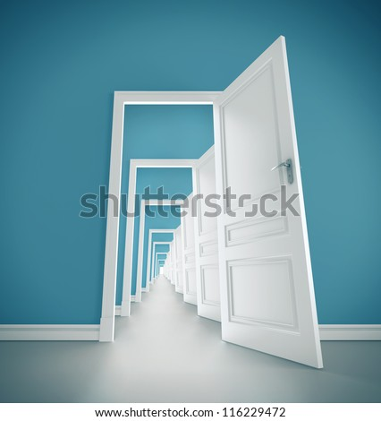 hallway open door in blue room - stock photo