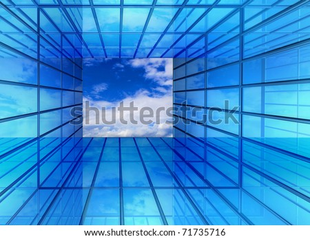 Hallway perspective imagination window to bright clean future sky - stock photo