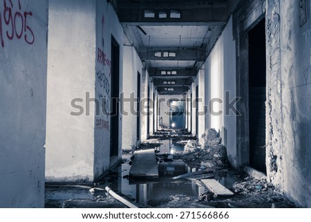 hallway walkway abandoned building can use horror movie scene background - stock photo