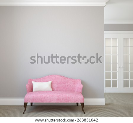 Hallway with pink couch near empty gray wall. 3d render. - stock photo
