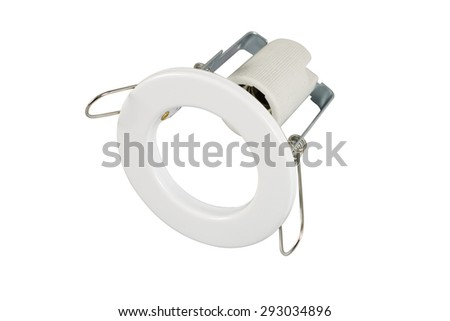 Halogen ceiling light isolated on white background with clipping path - stock photo