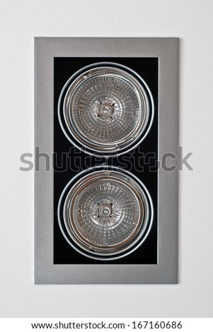Halogen ceiling light rectangular shape with two lamps - stock photo