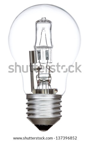 Halogen light bulb isolated on a white background - stock photo