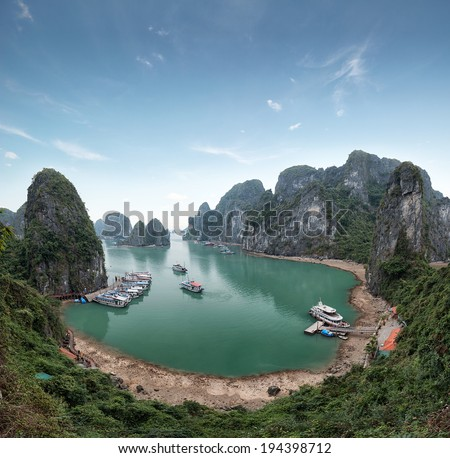 Halong Bay Vietnam. Ha Long Bay panoramic view - stock photo
