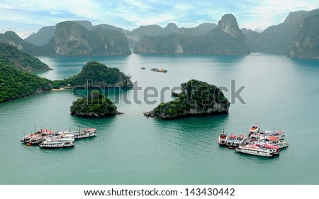Halong Bay, Vietnam. Unesco World Heritage Site. Famous sights of Viet Nam - stock photo