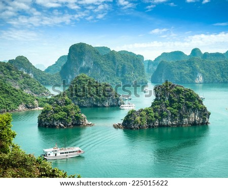 Halong Bay, Vietnam. Unesco World Heritage Site. Most popular place in Vietnam. this landscape you can seen from the island Titop - stock photo