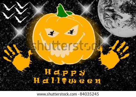 Haloween pumpkin - happy halloween - stock photo