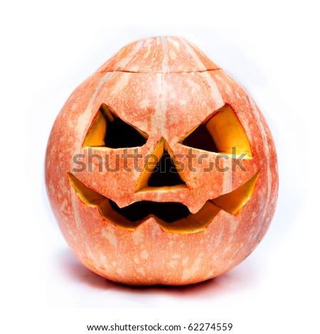 haloween pumpkin isolated over white - stock photo