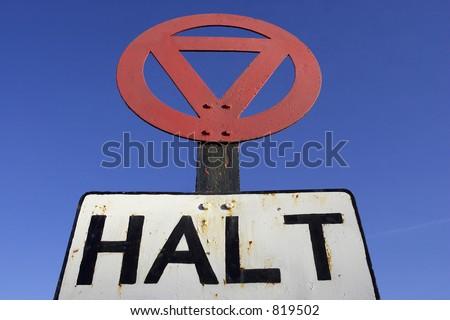 Halt at major road sign - stock photo