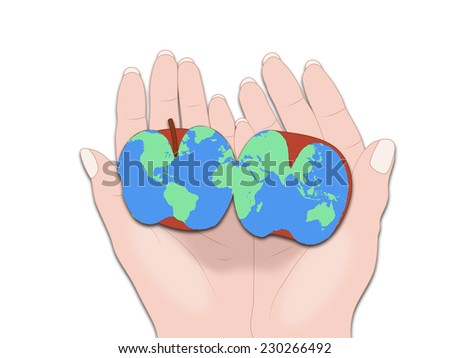 Halved apple world map hands stock illustration 230266492 shutterstock halved apple with a world map in hands gumiabroncs Image collections