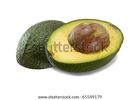 Halved avocado isolated on white background
