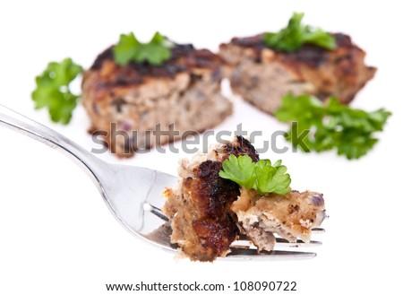 Halved burger isolated on white background - stock photo