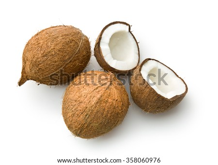 halved coconut on white background - stock photo