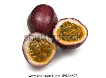 Halved Juicy Organic Passion Fruit - stock photo