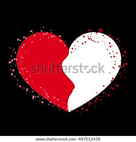 Halves Heart Icon Two Half Puzzle Stock Illustration 487012438