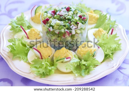 Halves of boiled eggs with salad, cucumber and radish - stock photo