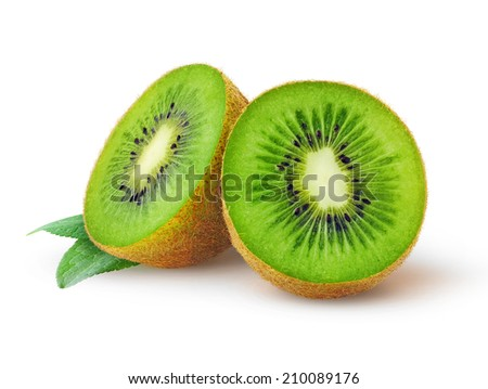 Halves of kiwi fruit over white background - stock photo