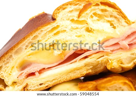 ham and cheese croissant - stock photo