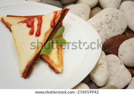 Ham and cheese sandwich with sauce on a white plate.