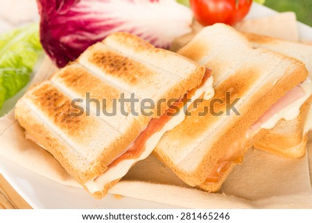 Ham and melted cheese toast