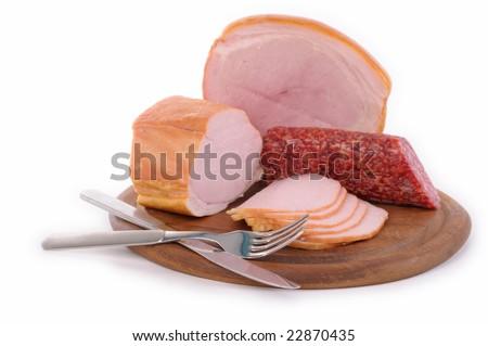 Ham and salami - stock photo