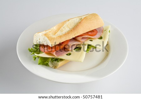Ham and Swiss cheese baguette on white plate - stock photo