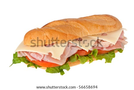 Ham and swiss cheese with lettuce and tomato on a bun isolated on white