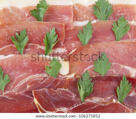 ham background  smoked meat - idea the forest on the hills
