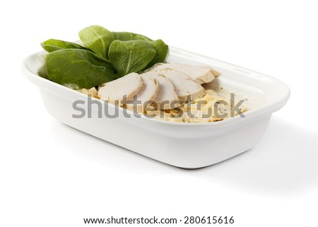 Ham, cheese and spinach in a bowl on isolated background - stock photo