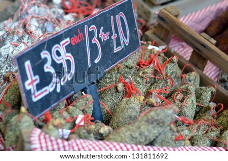 Ham for sale at Borough Food Market, London - stock photo