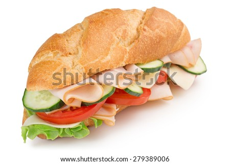 ham sandwich isolated on white background - stock photo