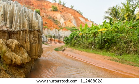 Ham Tien canyon in Vietnam, small stream carving through the sand - stock photo