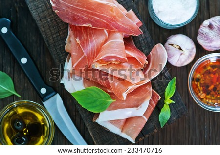 ham with spice and basil - stock photo