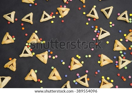 Hamantaschen cookies or hamans ears Purim celebration - stock photo